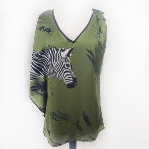 """Bisou Bisou """"Kelp"""" Asymmetrical Zebra Print Top M"""
